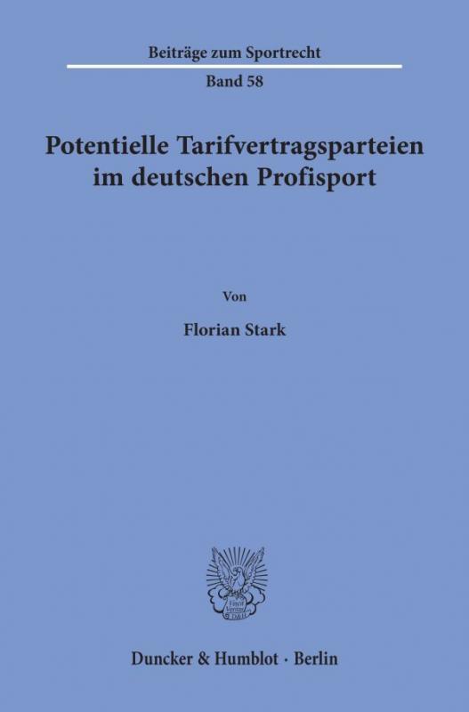 Cover-Bild Potentielle Tarifvertragsparteien im deutschen Profisport.