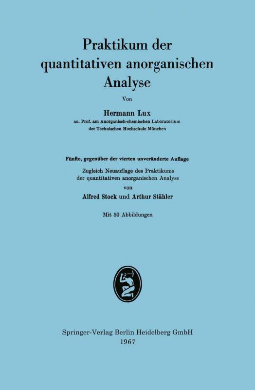 Cover-Bild Praktikum der quantitativen anorganischen Analyse