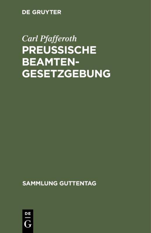 Cover-Bild Preußische Beamten-Gesetzgebung