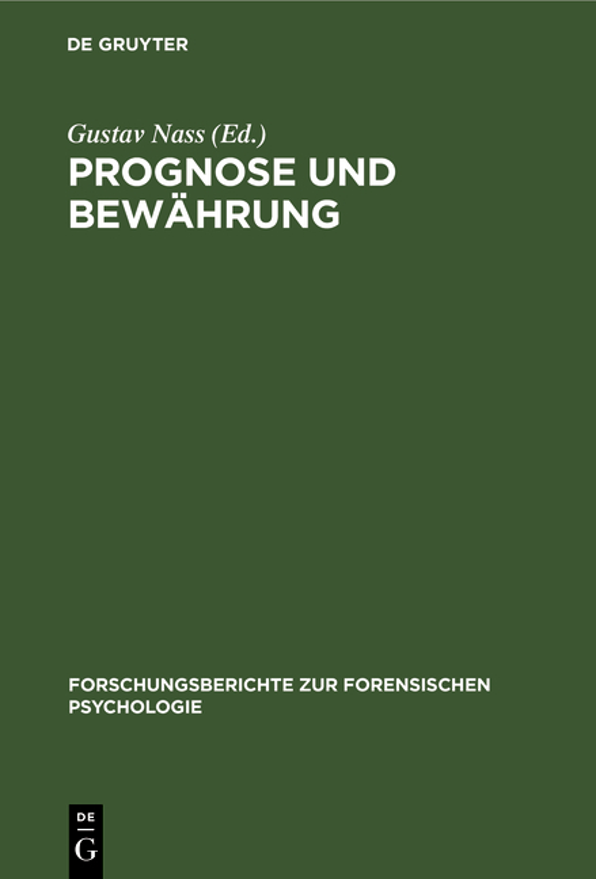 Cover-Bild Prognose und Bewährung