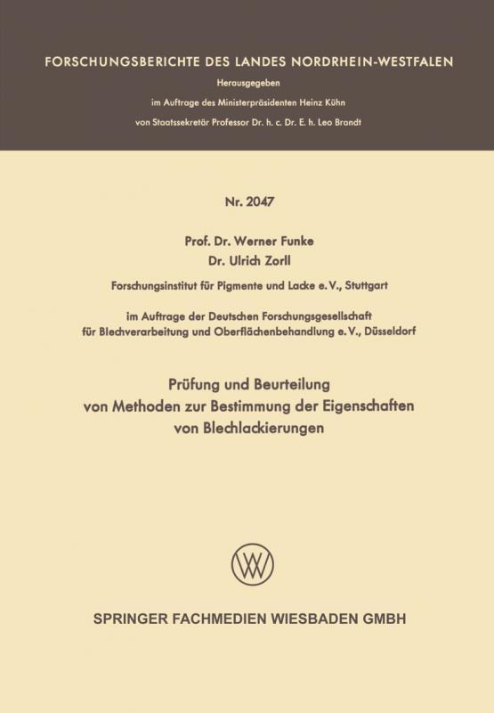 Cover-Bild Prüfung und Beurteilung von Methoden zur Bestimmung der Eigenschaften von Blechlackierungen