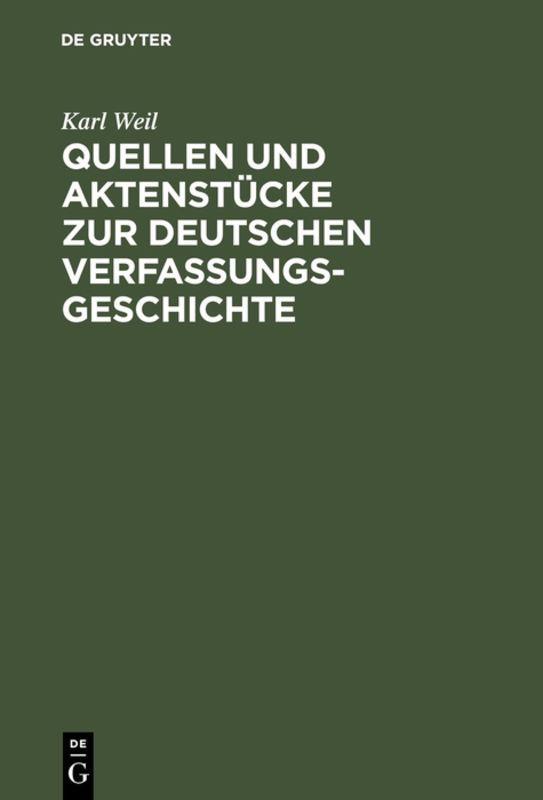 Cover-Bild Quellen und Aktenstücke zur deutschen Verfassungsgeschichte