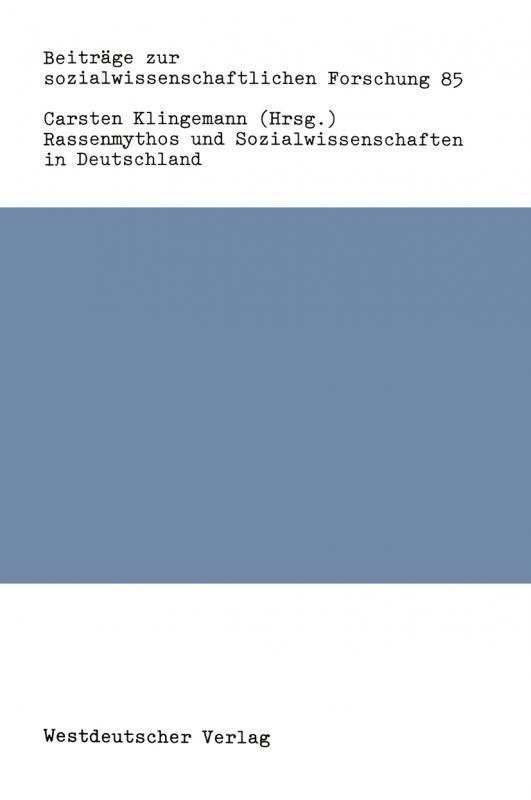 Cover-Bild Rassenmythos und Sozialwissenschaften in Deutschland