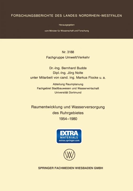 Cover-Bild Raumentwicklung und Wasserversorgung des Ruhrgebietes 1954 – 1980