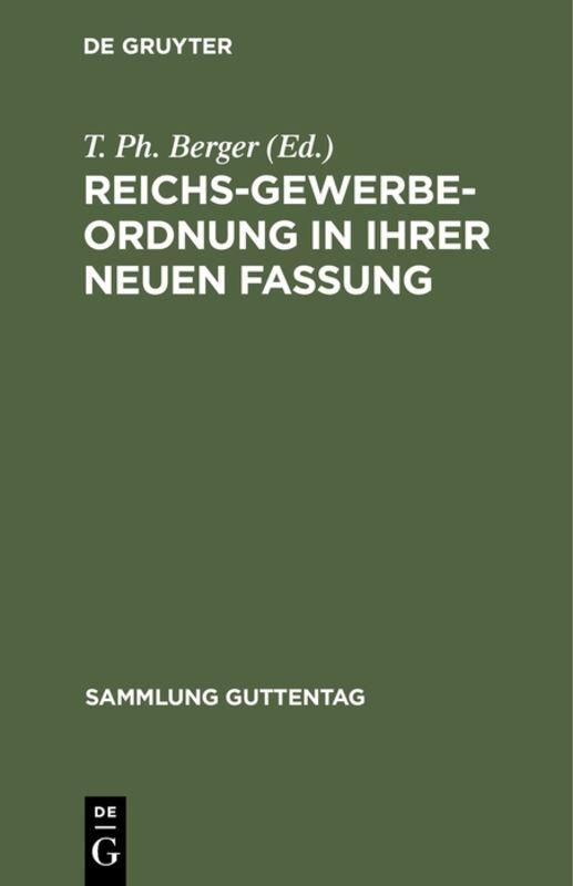 Cover-Bild Reichs-Gewerbe-Ordnung in ihrer neuen Fassung