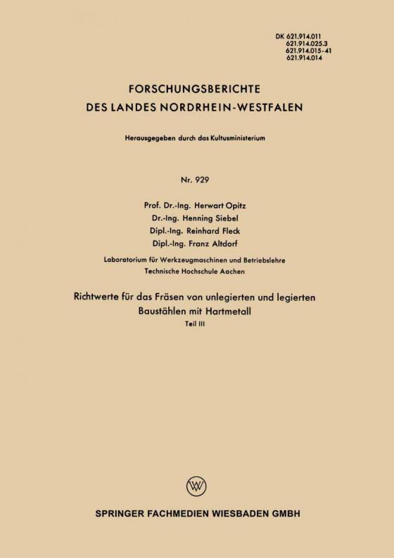 Cover-Bild Richtwerte für das Fräsen von unlegierten und legierten Baustählen mit Hartmetall