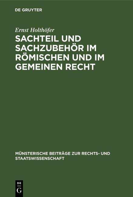 Cover-Bild Sachteil und Sachzubehör im Römischen und im Gemeinen Recht