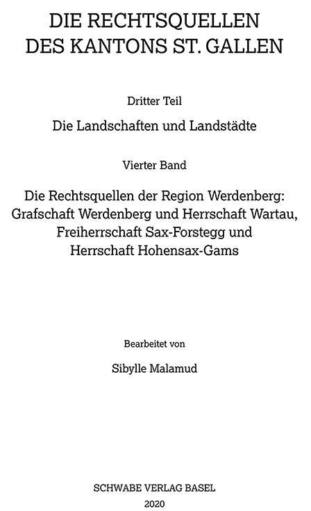 Cover-Bild Sammlung Schweizerischer Rechtsquellen / Die Rechtsquellen der Region Werdenberg