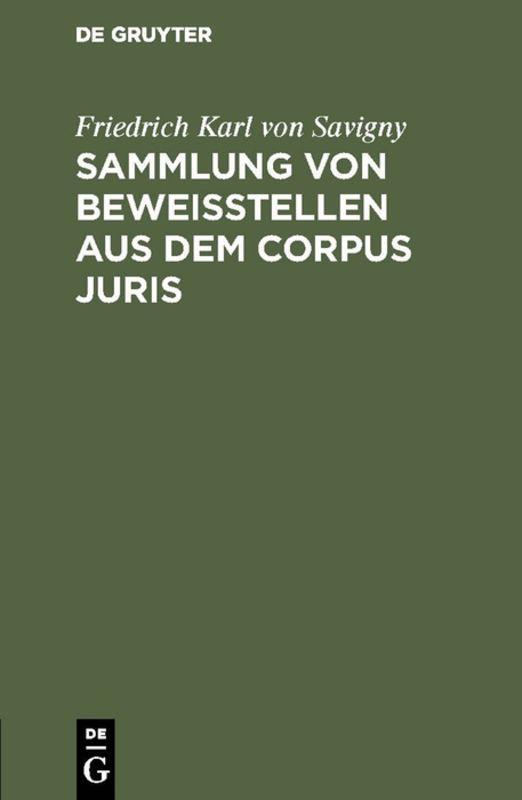 Cover-Bild Sammlung von Beweisstellen aus dem Corpus juris