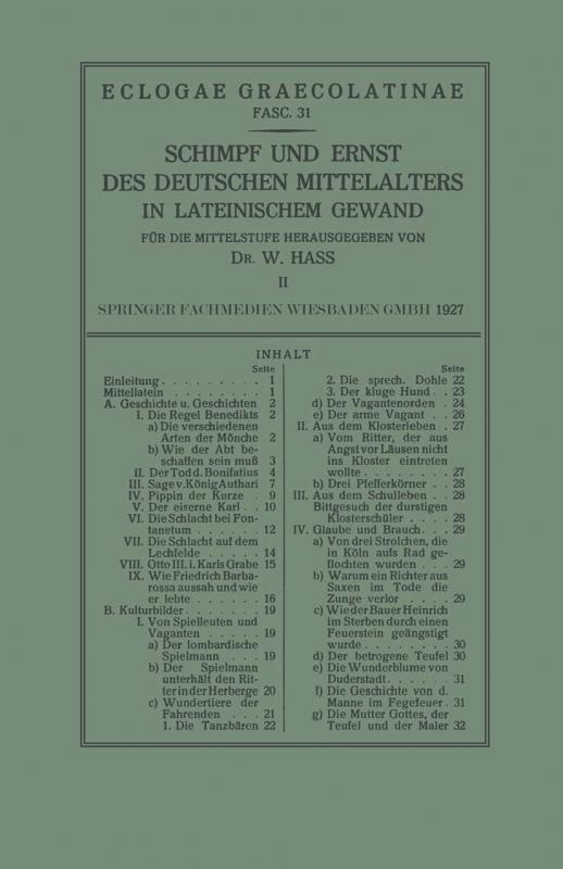 Cover-Bild Schimpf und Ernst des Deutschen Mittelalters in Lateinischem Gewand