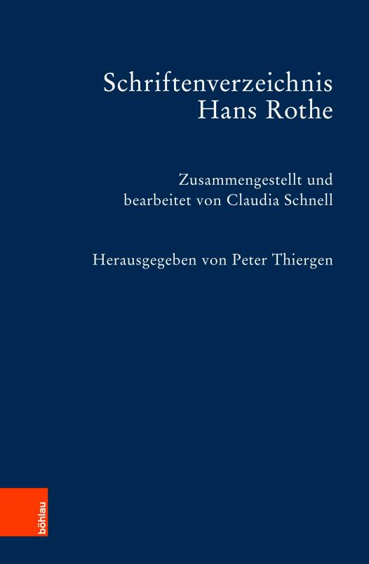 Cover-Bild Schriftenverzeichnis Hans Rothe
