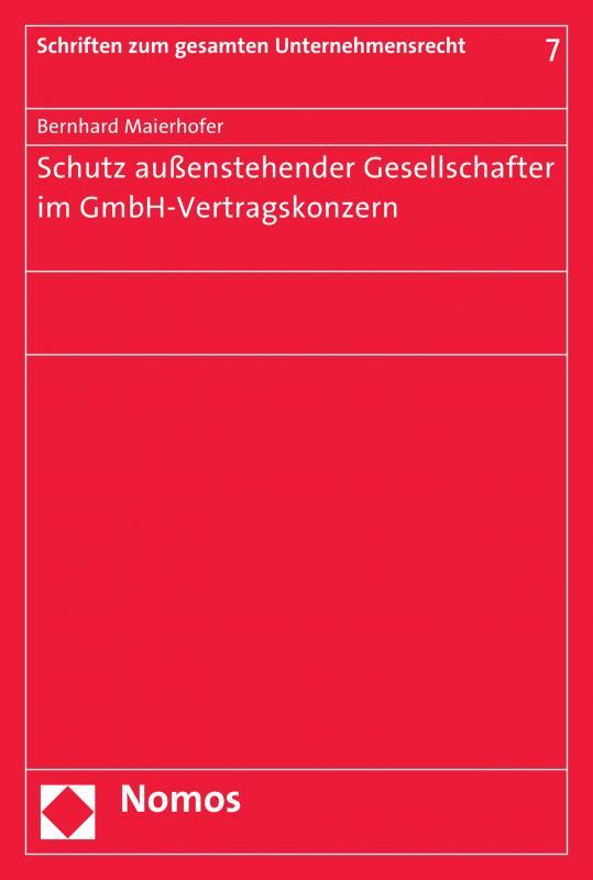 Cover-Bild Schutz außenstehender Gesellschafter im GmbH-Vertragskonzern