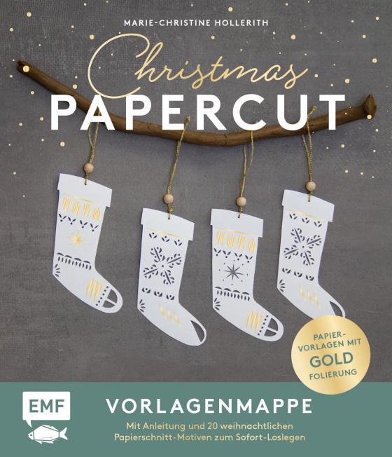 Cover-Bild Set: Christmas Papercut – Die Vorlagenmappe mit Anleitung und 20 weihnachtlichen Papierschnitt-Motiven zum Sofort-Loslegen