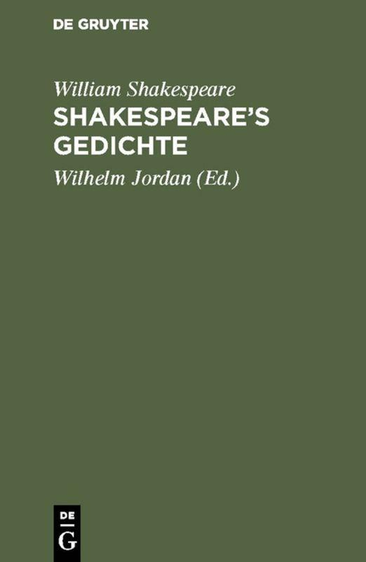 Cover-Bild Shakespeare's Gedichte