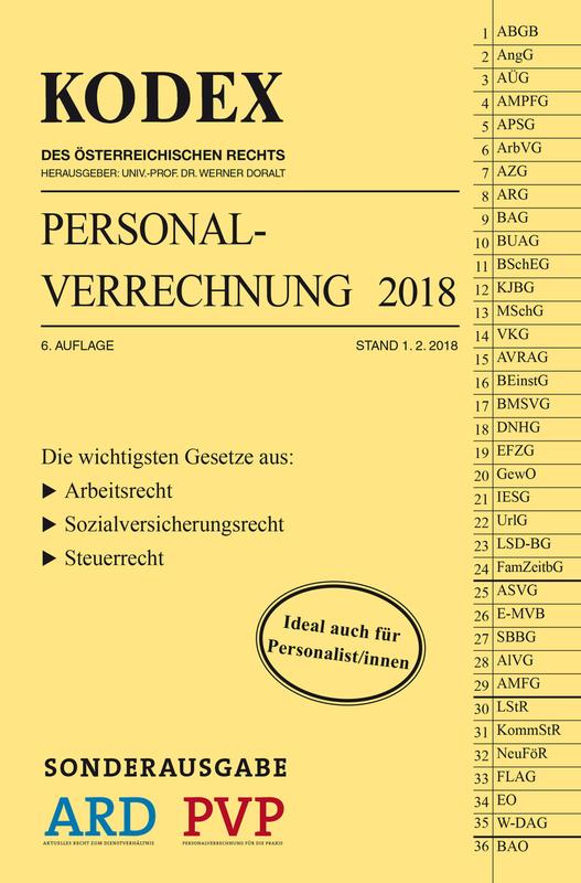 Cover-Bild SONDERAUSGABE KODEX Personalverrechnung 2018