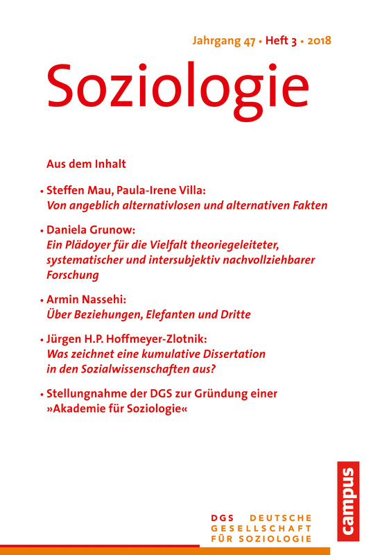 Cover-Bild Soziologie Jg. 47 (2018) 3