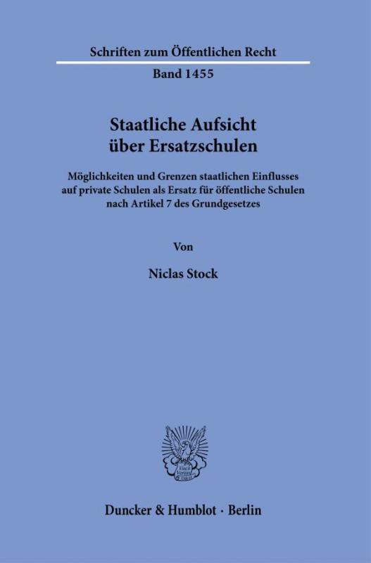Cover-Bild Staatliche Aufsicht über Ersatzschulen.