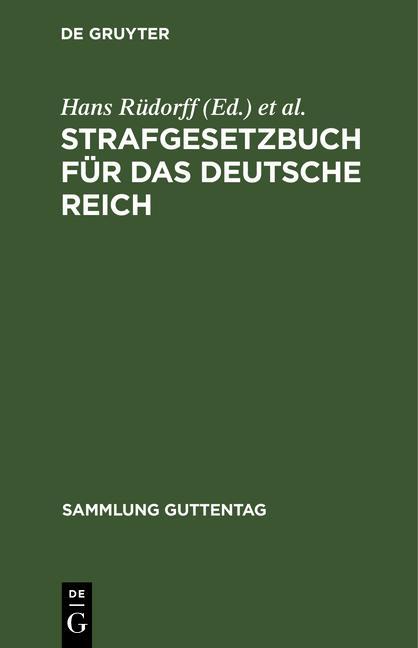 Cover-Bild Strafgesetzbuch für das Deutsche Reich