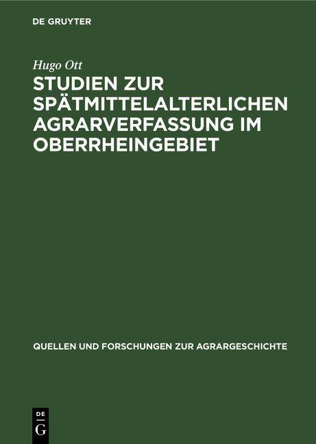 Cover-Bild Studien zur spätmittelalterlichen Agrarverfassung im Oberrheingebiet