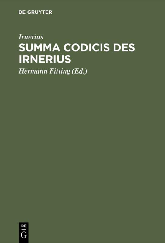 Cover-Bild Summa codicis des Irnerius