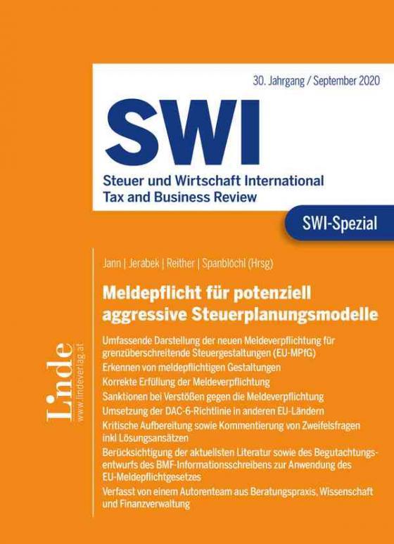 Cover-Bild SWI-Spezial Meldepflicht für potenziell aggressive Steuerplanungsmodelle