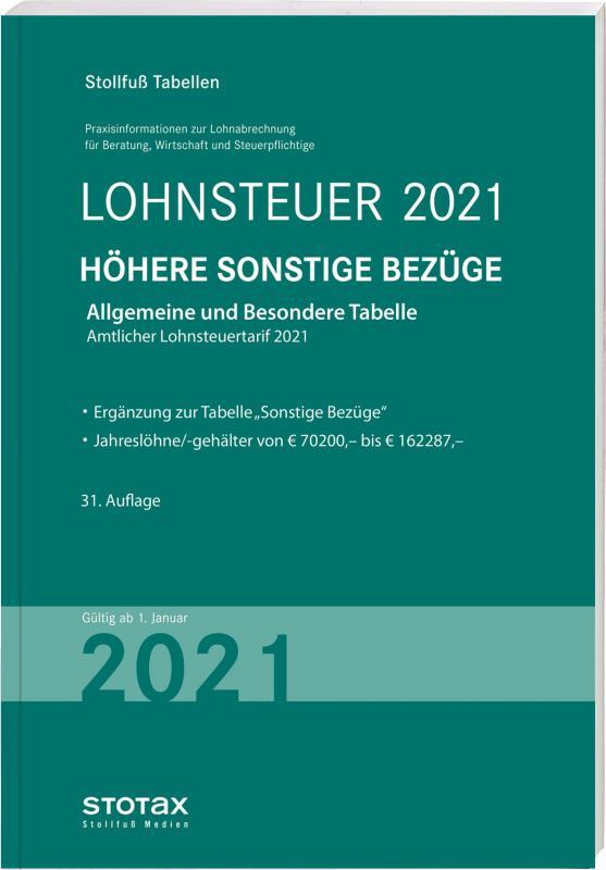 Tabelle, Lohnsteuer 2021 Höhere Sonstige Bezüge | Lesejury