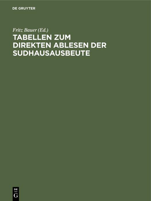 Cover-Bild Tabellen zum direkten Ablesen der Sudhausausbeute