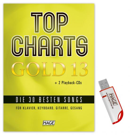 Cover-Bild Top Charts Gold 13 (mit 2 CDs + Midifiles, USB-Stick)