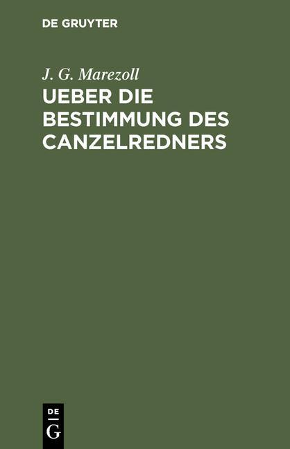 Cover-Bild Ueber die Bestimmung des Canzelredners