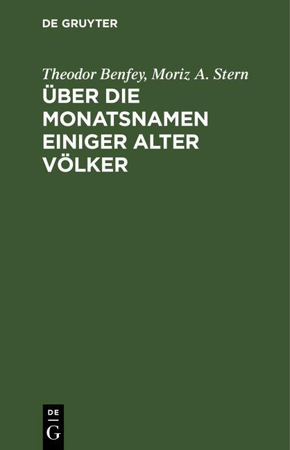 Cover-Bild Über die Monatsnamen einiger alter Völker