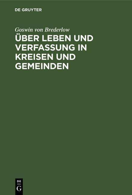 Cover-Bild Über Leben und Verfassung in Kreisen und Gemeinden