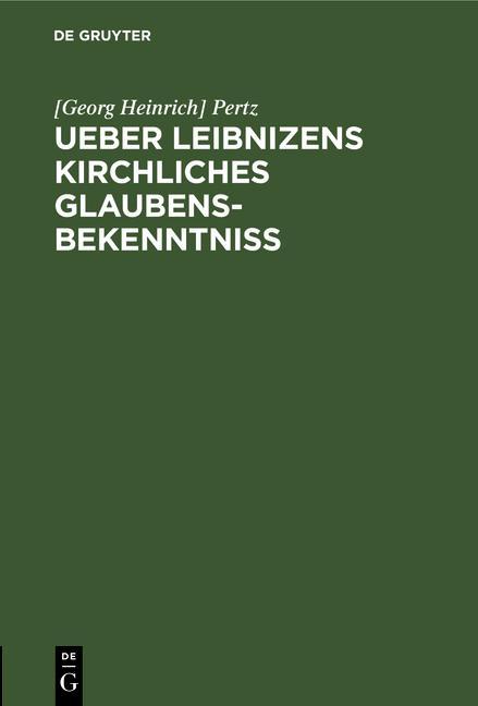 Cover-Bild Ueber Leibnizens kirchliches Glaubensbekenntniss