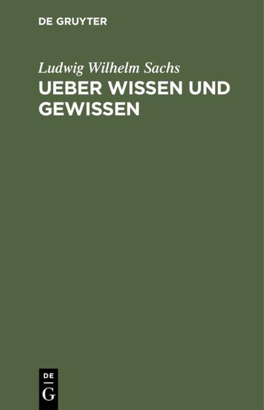 Cover-Bild Ueber Wissen und Gewissen