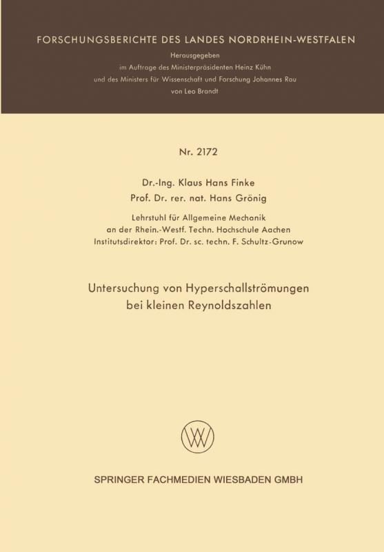 Cover-Bild Untersuchung von Hyperschallströmungen bei kleinen Reynoldszahlen