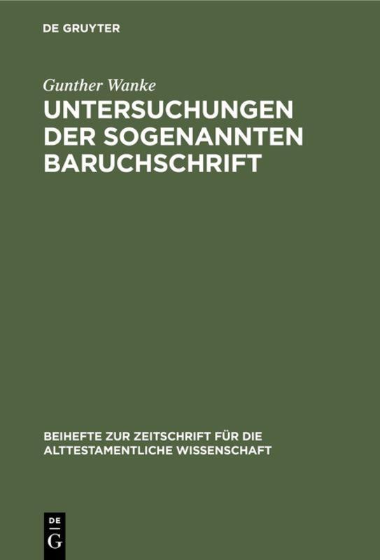 Cover-Bild Untersuchungen der sogenannten Baruchschrift