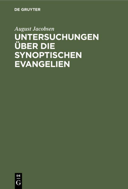 Cover-Bild Untersuchungen über die synoptischen Evangelien