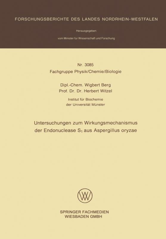 Cover-Bild Untersuchungen zum Wirkungsmechanismus der Endonuclease S1 aus Aspergillus oryzae