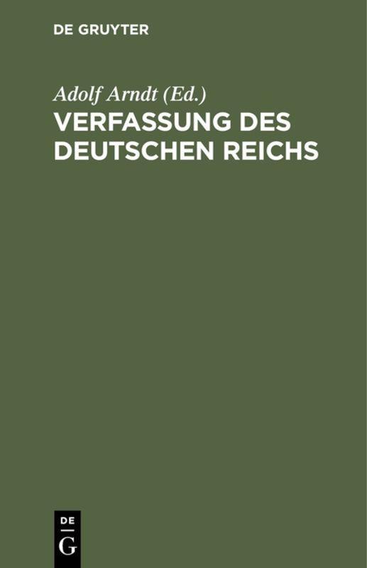 Cover-Bild Verfassung des Deutschen Reichs