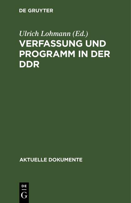 Cover-Bild Verfassung und Programm in der DDR