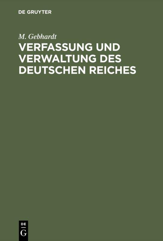 Cover-Bild Verfassung und Verwaltung des Deutschen Reiches