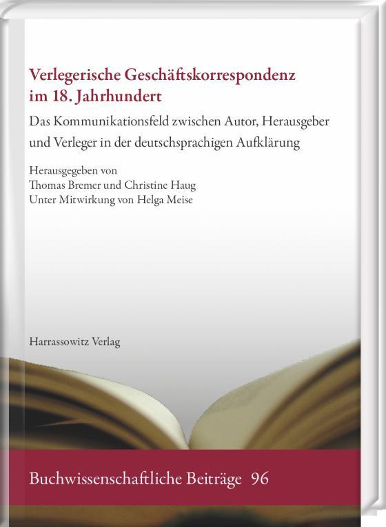 Cover-Bild Verlegerische Geschäftskorrespondenz im 18. Jahrhundert