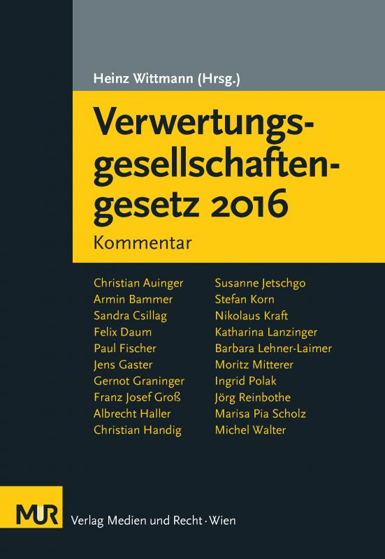 Cover-Bild Verwertungsgesellschaftengesetz 2016
