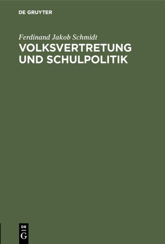 Cover-Bild Volksvertretung und Schulpolitik
