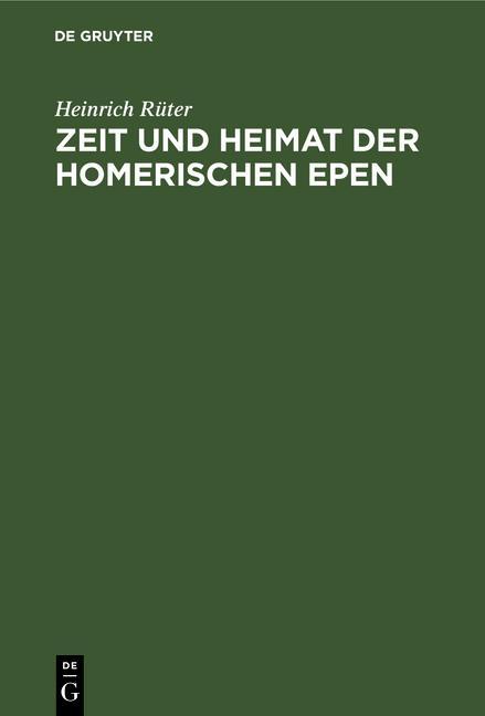 Cover-Bild Zeit und Heimat der Homerischen Epen