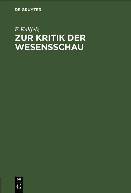 Cover-Bild Zur Kritik der Wesensschau