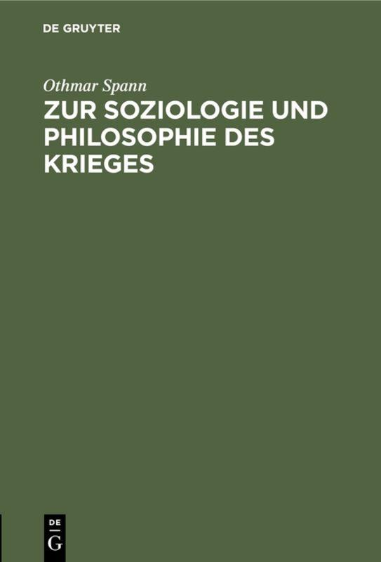 Cover-Bild Zur Soziologie und Philosophie des Krieges