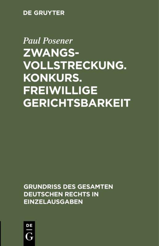Cover-Bild Zwangsvollstreckung. Konkurs. Freiwillige Gerichtsbarkeit